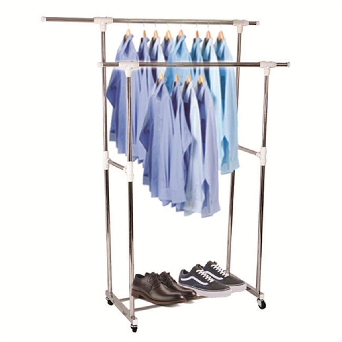 Giàn phơi quần áo inox đôi di động cao cấp Prota
