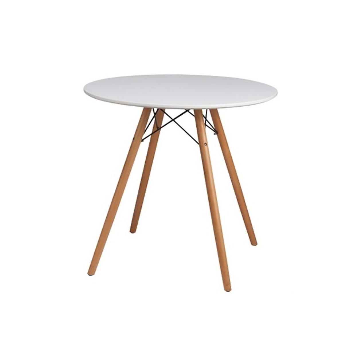 Bàn cafe nhựa tròn chân gỗ TH01