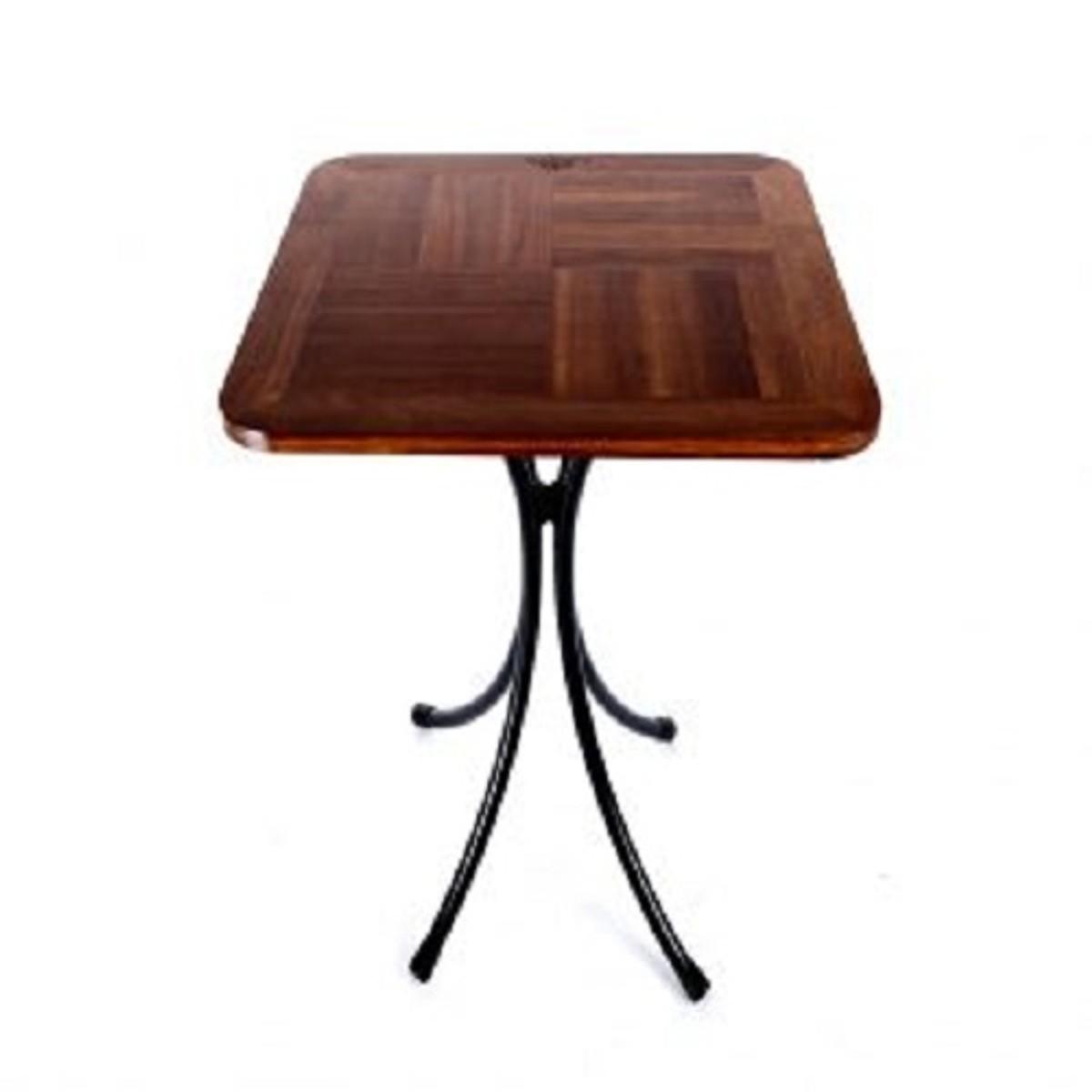 Bàn cafe vuông mặt gỗ chân sắt