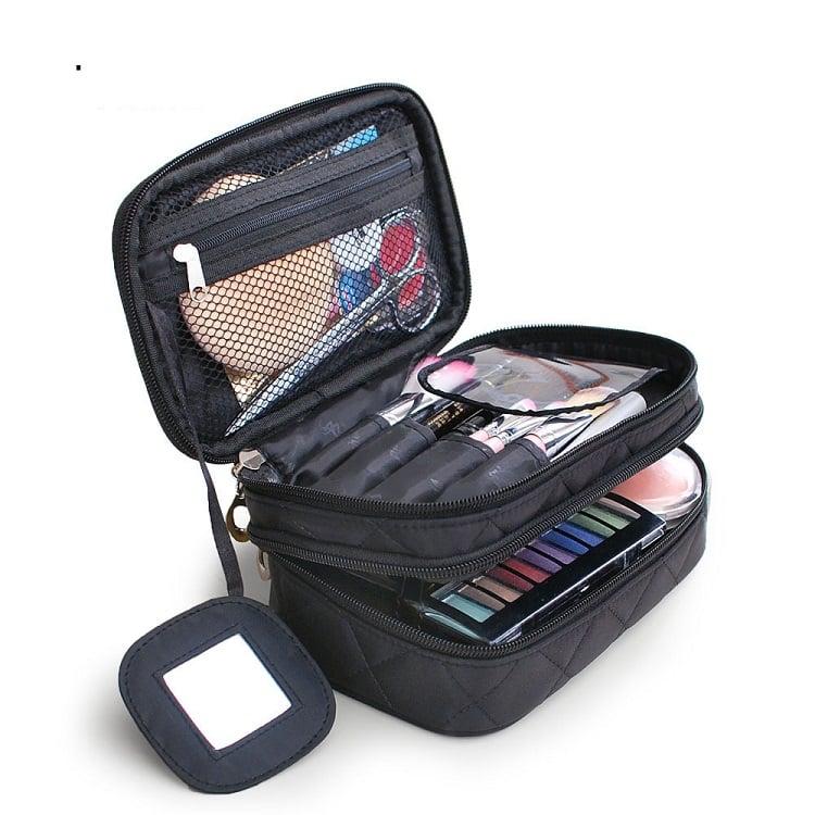Túi đựng mỹ phẩm cao cấp 2 ngăn Kèm Gương