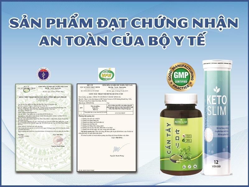 Bộ đôi sản phẩm KetoSlim đạt chứng nhận an toàn của Bộ Y tế