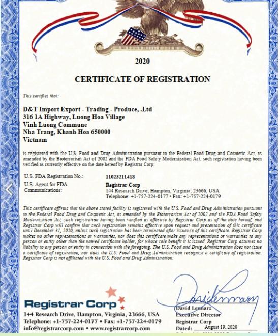 Phiếu chứng nhận an toàn thực phẩm của Cục quản lý thực phẩm và dược phẩm Hoa Kỳ FDA