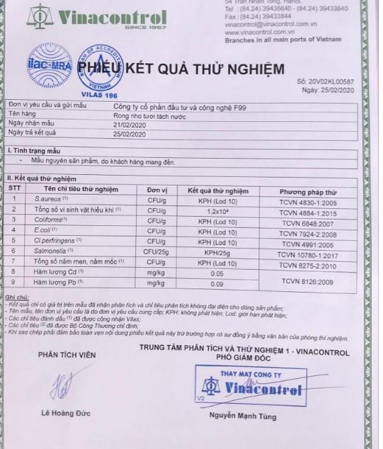 Phiếu kết quả thử nghiệm an toàn thực phẩm với rong nho tách nước theo tiêu chuẩn của Bộ Y tế