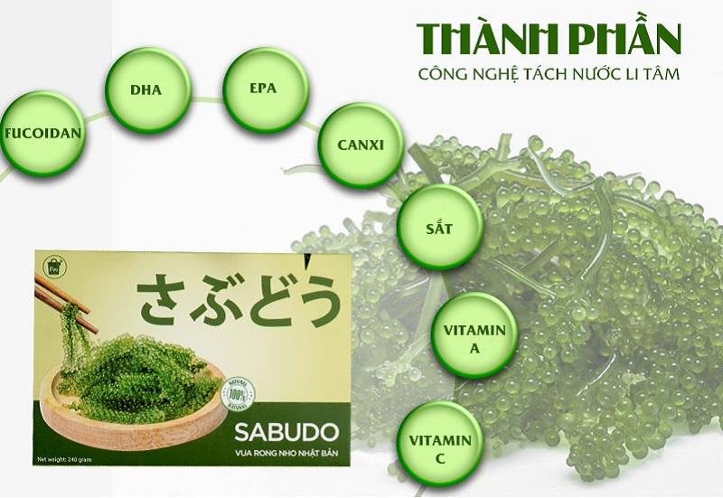 Rong nho tách nước Sabudo chứa nhiều thành phần dưỡng chất có lợi cho sức khỏe