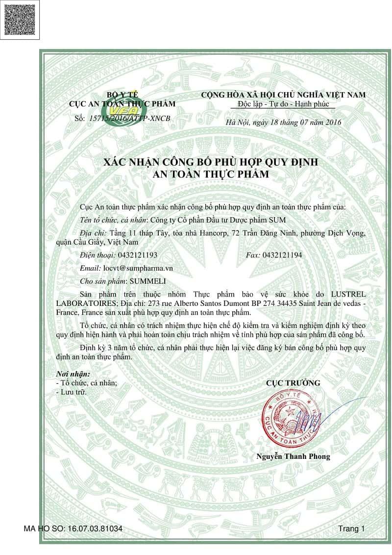 Sản phẩm đã được kiểm chứng kỹ càng bởi Bộ Y tế Việt Nam trước khi tung ra thị trường