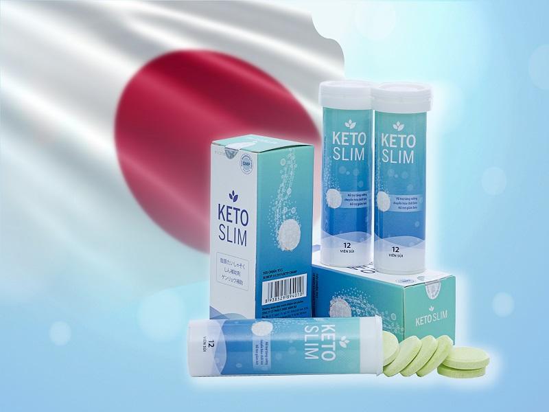 Viên sủi Keto Slim giảm cân được đựng trong lọ nhựa có 12 viên với thiết kế bao bì tươi sáng đẹp mắt