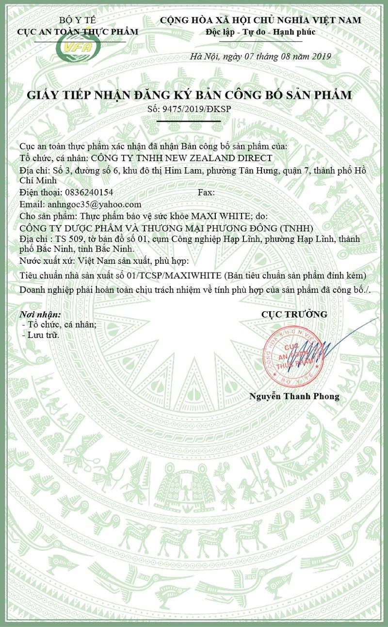 Viên uống trắng da Maxi White đã được cấp chứng nhận an toàn của Bộ Y Tế