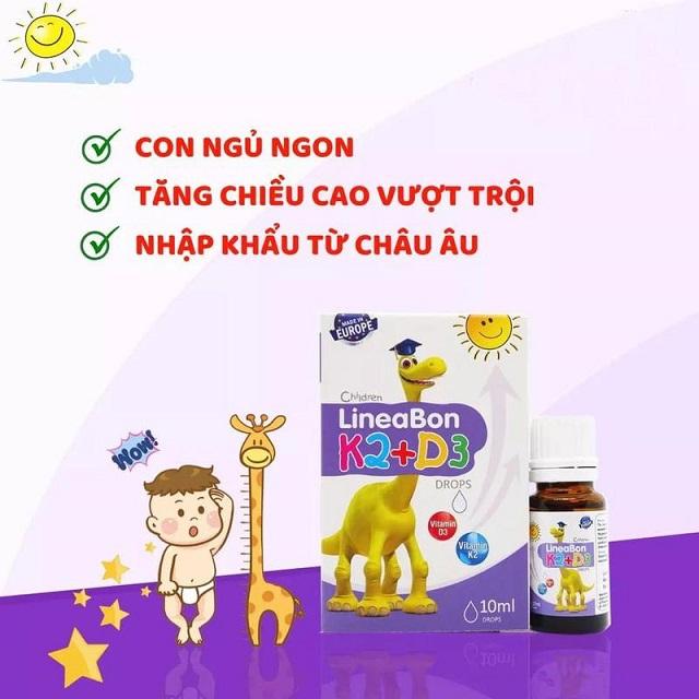 Lineabon K2 + D3 đem đến cho trẻ nhiều công dụng tuyệt vời
