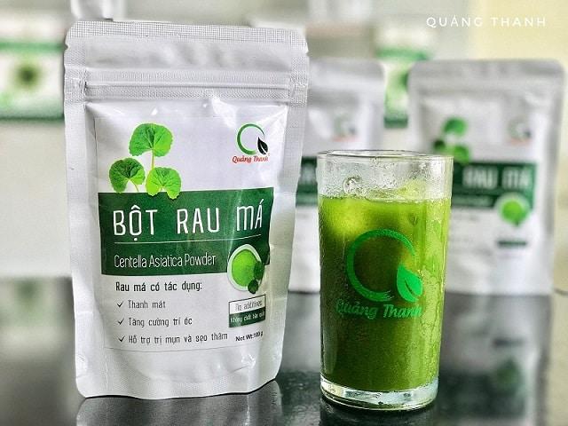 Pha nước uống từ bột rau Quảng Thanh đơn giản, dễ dàng