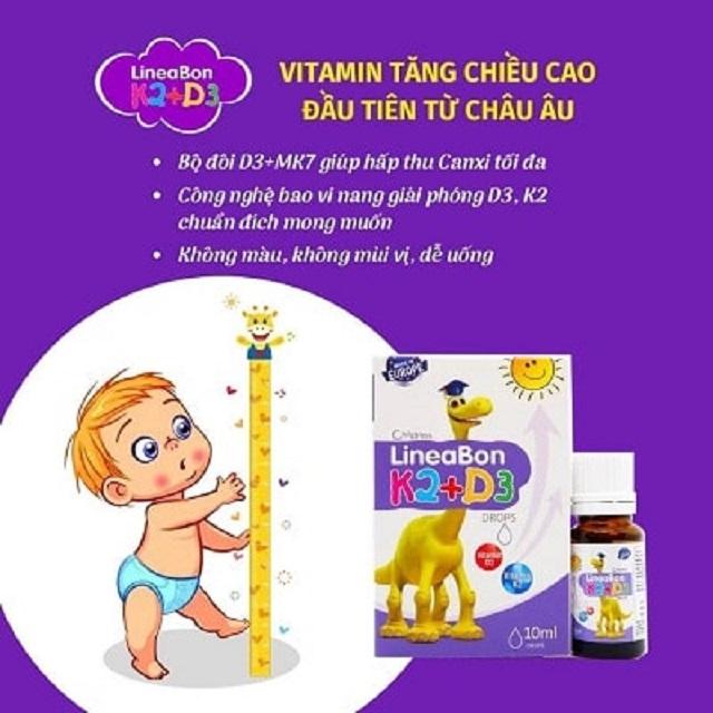 Sản phẩm vitamin D3 + K2 Lineabon là sản phẩm hỗ trợ tăng chiều cao hàng đầu