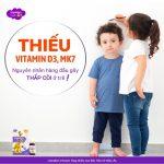 Thiếu vitamin D3 + vitamin K2 (MK7) là nguyên nhân gây thấp còi ở trẻ