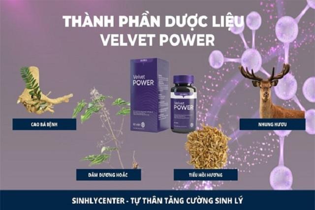 Velvet Power (viên uống hằng ngày) có thành phần từ các loại thảo mộc thiên nhiên quý hiếm